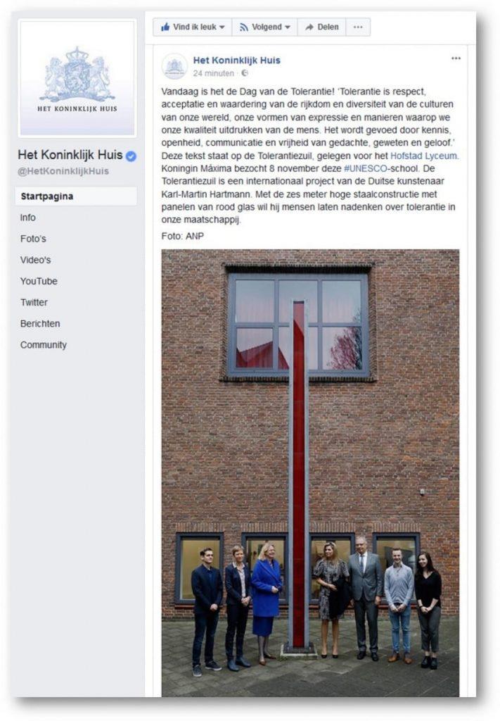 Facebook bericht Koninklijk Huis