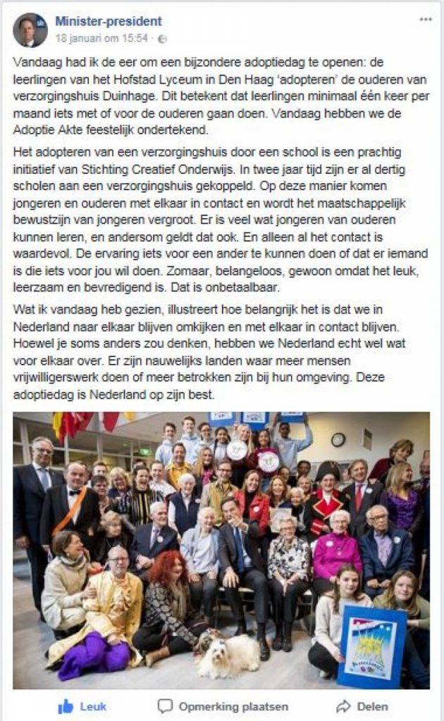 Facebook bericht premier Rutte